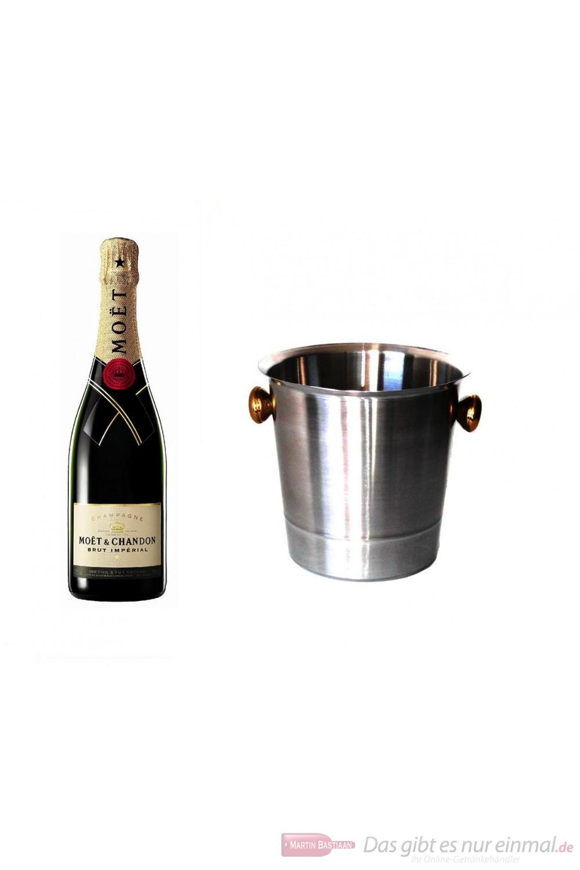 Moet & Chandon Brut Impérial Champagner im Champagner Kühler Aluminium poliert 12% 0,75l Flasche