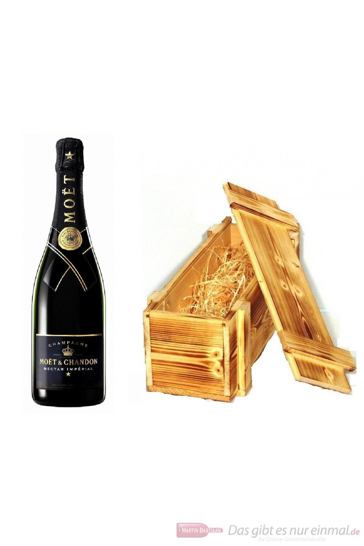 Moet & Chandon Champagner Nectar Impérial in Holzkiste geflammt 12% 0,75l Flasche