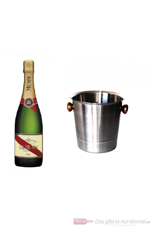 Mumm Cordon Rouge Champagner im Champagner Kühler Aluminium poliert 12% 0,75 l Flasche