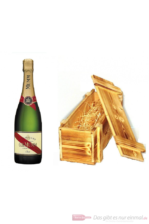 Mumm Cordon Rouge Champagner in Holzkiste geflammt 12% 0,75 l Flasche
