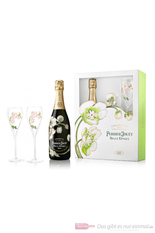Perrier Jouet Champagner Belle Epoque 2012 in GP mit Gläsern 0,75l