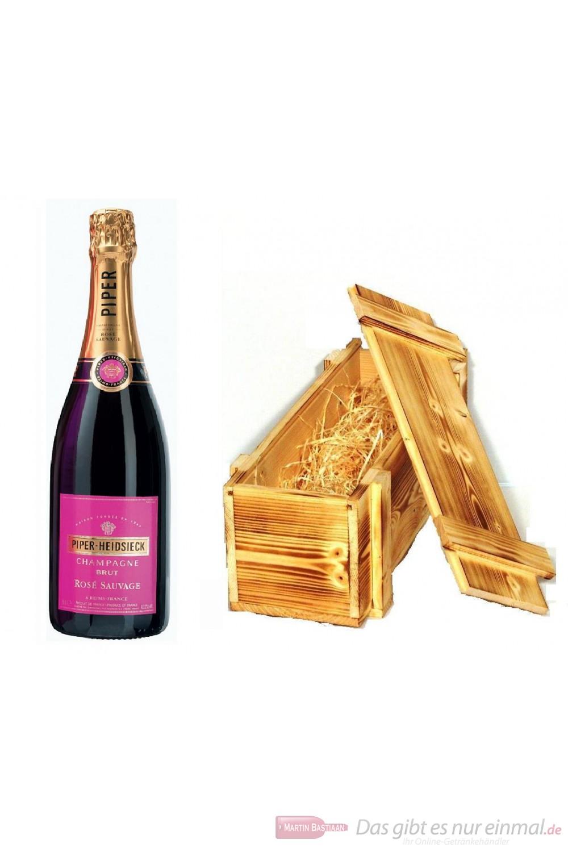 Piper Heidsieck Champagner Rosé Sauvage in Holzkiste geflammt 12% 0,75l Flasche