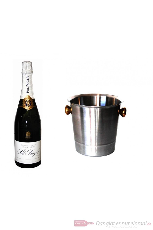 Pol Roger Champagner Brut Réserve im Champagner Kühler Aluminium poliert 12% 0,75l Flasche