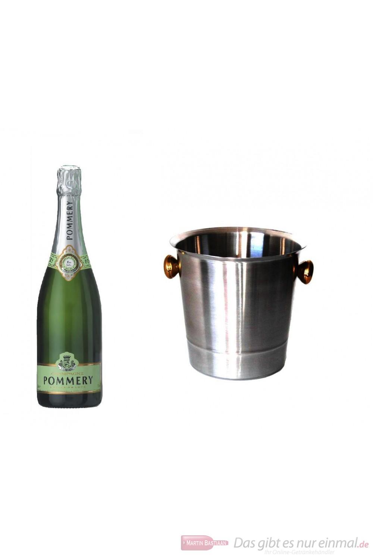 Pommery Champagner Blanc de Blanc Summertime im Champagner Kühler Aluminium poliert 12% 0,75l Flasche