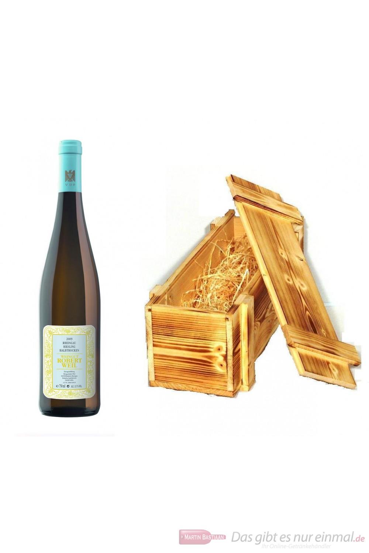 Robert Weil Riesling Qba halbtrocken Weißwein 2011 11% 0,75l Flasche in Holzkiste geflammt