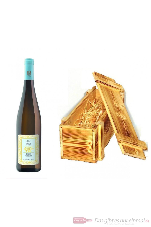 Robert Weil Riesling Qba trocken Weißwein 2011 12% 0,75l Flasche in Holzkiste geflammt