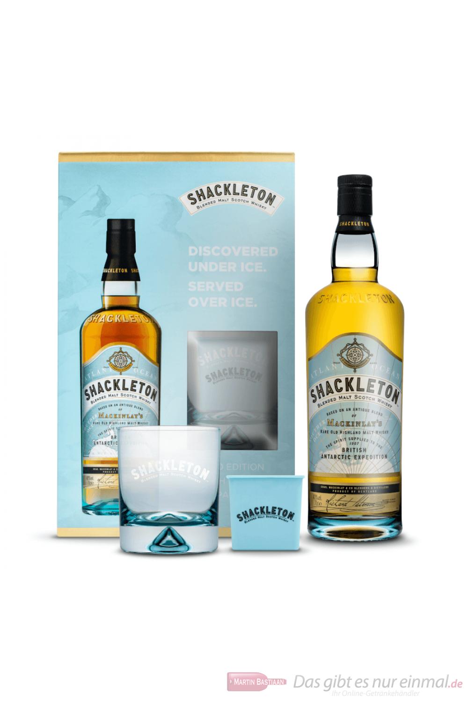Shackleton Blended Scotch Whisky in Geschenkpackung mit Eiswürfelform und Glas 0,7l