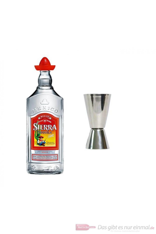 Sierra Tequila Silver 38 % 1,0 l Flasche + Messbercher
