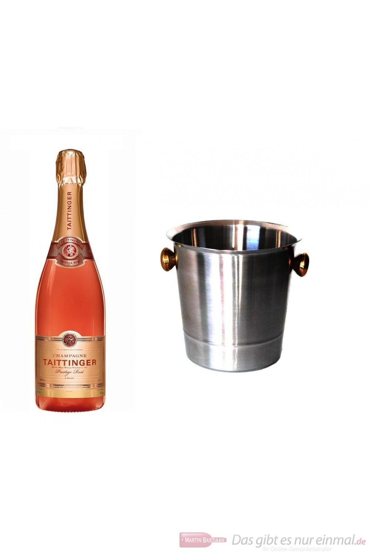 Taittinger Champagner Brut Prestige Rosé im Champagner Kühler Aluminium poliert 12 % 0,75l Flasche
