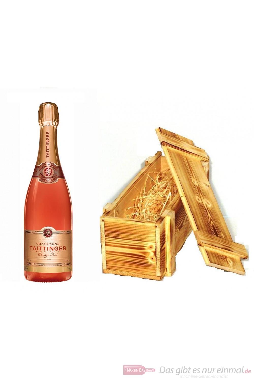 Taittinger Champagner Brut Prestige Rosé in Holzkiste geflammt 12 % 0,75l Flasche