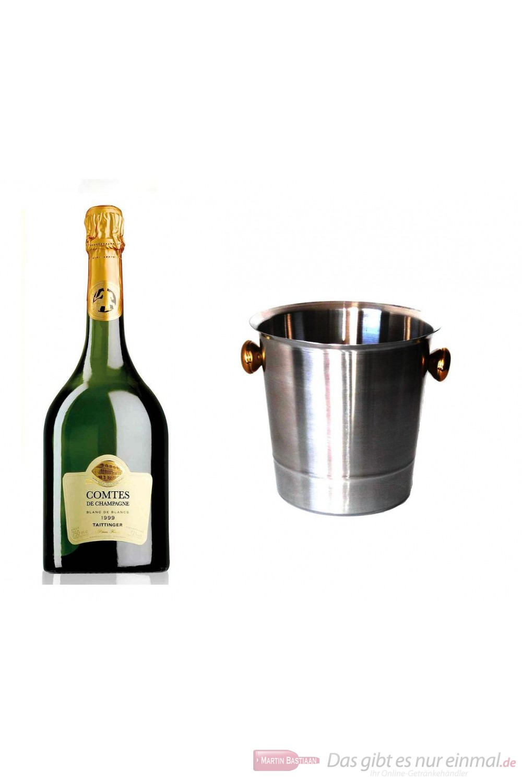 Taittinger Champagner Comtes de Champagne Blanc de Blanc 1999 im Champagner Kühler Aluminium poliert 12 % 0,75 l. Flasche