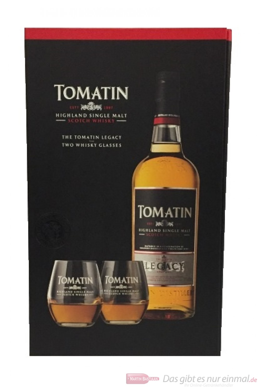 Tomatin Legacy mit 2 Gläsern