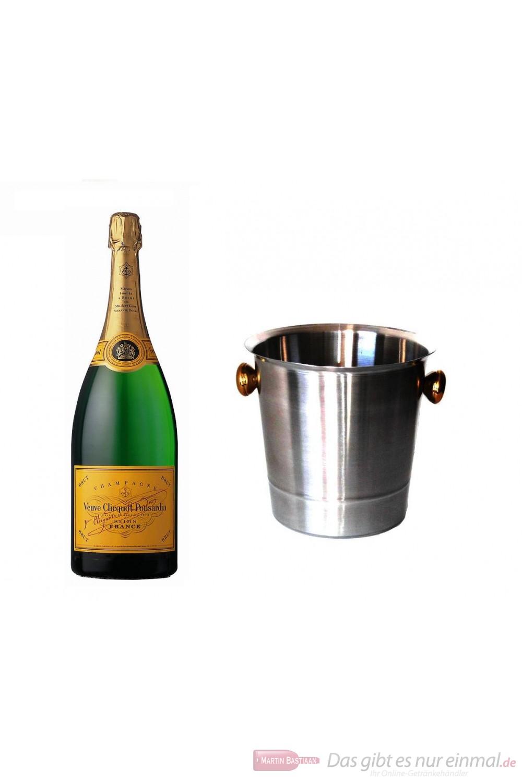 Veuve Clicquot Champagner Brut im Champagner Kühler Aluminium poliert 12 % 0,75 l. Flasche