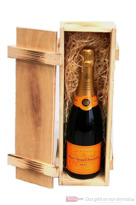 Veuve Clicquot Champagner Brut in Holzkiste geflammt 12 % 0,75 l. Flasche