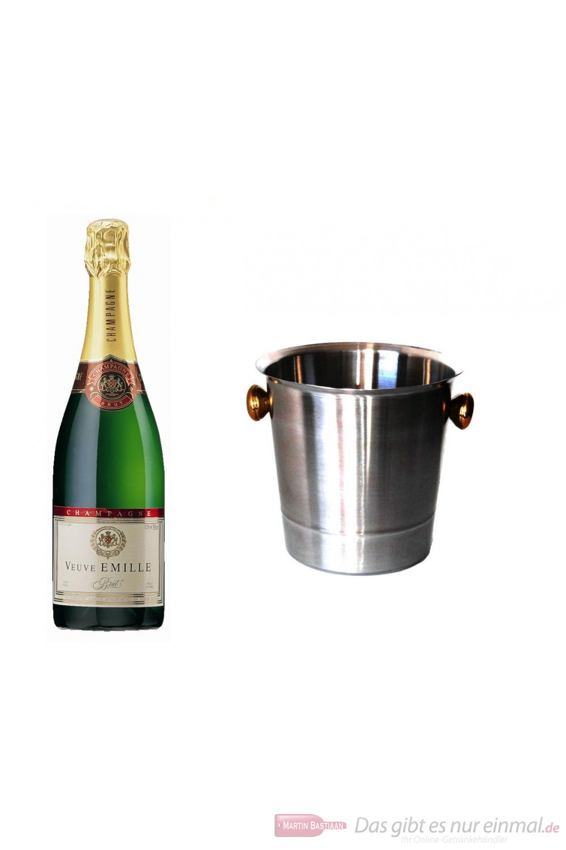 Veuve Emille Champagner Brut im Champagner Kühler Aluminium poliert 12 % 0,75 l Flasche