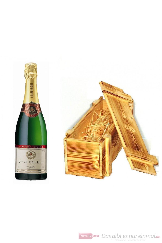Veuve Emille Champagner Brut in Holzkiste geflammt 12 % 0,75 l Flasche