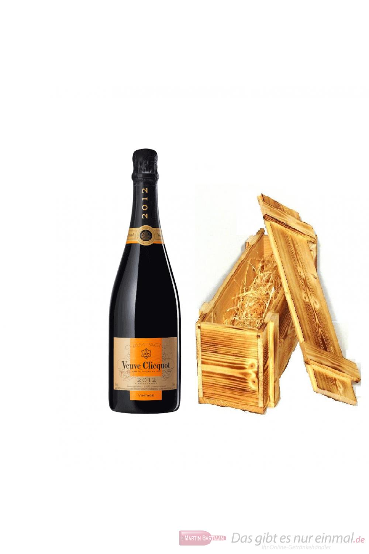 Veuve Clicquot Champagner Vintage 2012 in Holzkiste geflammt 0,75l