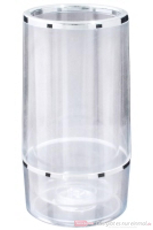 Contacto Wein Flaschenkühler doppelwandig aus Acrylglas mit verchromten Bändern 23cm