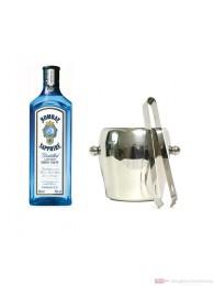 Bombay Sapphire Gin 1,0l mit Eiskübel 1l und Eiszange