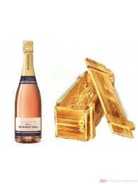 De Saint Gall Brut Rosé Champagner in Holzkiste geflammt 12% 0,75l Flasche