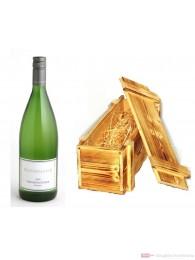 Dreissigacker Weissburgunder weißwein Qba trocken 2009 12,5% 1,0l Flasche in Holzkiste geflammt