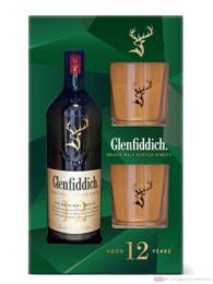 Glenfiddich 12 Years + 2 Gläser Single Malt Scotch Whisky 0,7l