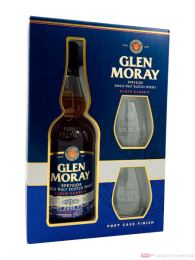 Glen Moray Elgin Classic Port Cask Finish mit Glas Whisky 0,7l