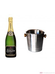 Lanson Champagner Black Label Brut im Champagner Kühler Aluminium poliert 12% 0,75l Flasche