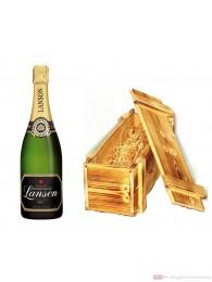 Lanson Champagner Black Label Brut in Holzkiste geflammt 12% 0,75l Flasche
