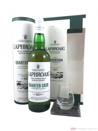 Laphroaig Quarter Cask in Geschenkverpackung mit Glas und Untersetzer
