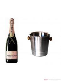 Moet & Chandon Champagner Brut Impérial Rosé im Champagner Kühler Aluminium poliert 12% 0,75l Flasche