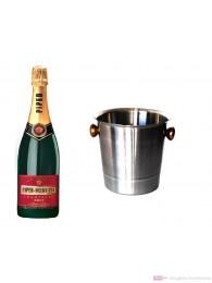 Piper Heidsieck Champagner Brut im Champagner Kühler Aluminium poliert 12% 0,75l Flasche