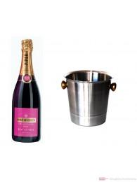Piper Heidsieck Champagner Rosé Sauvage im Champagner Kühler Aluminium poliert 12% 0,75l Flasche