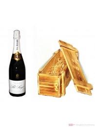Pol Roger Champagner Brut Reserve in Holzkiste geflammt 0,75l
