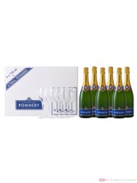 Pommery Champagner Royal Brut + 6 Gläser 6-0,75l Flasche
