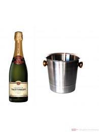 Taittinger Champagner Brut Réserve im Champagner Kühler Aluminium poliert 12% 0,75l Flasche