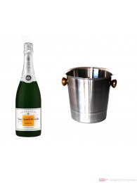 Veuve Clicquot Champagner Demi Sec im Champagner Kühler Aluminium poliert 12 % 0,75 l. Flasche