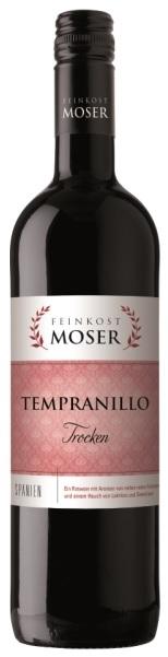 Wein der Marke Feinkost Moser Tempranillo trocken Rotwein 13% 0,75L Flasche