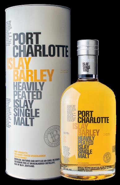 Single Malt Scotch Whisky der Marke Bruichladdich Port Charlotte Islay Barley 50% 0,7l Flasche