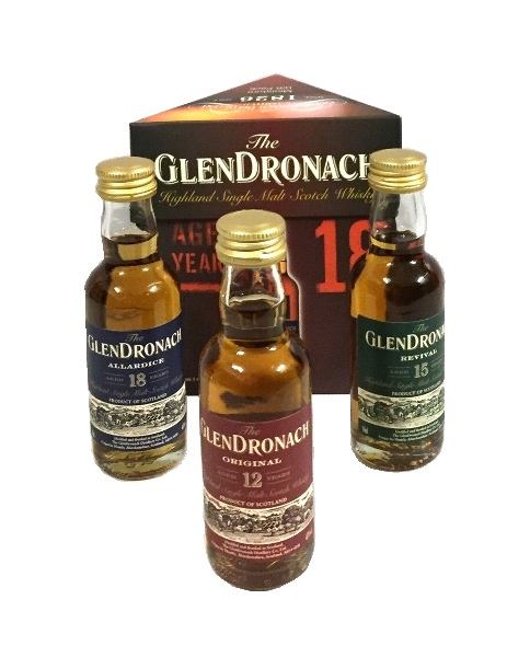 Miniaturenset der Marke Glendronach Single Malt Scotch Whisky 45% 3-0,05l Flasche