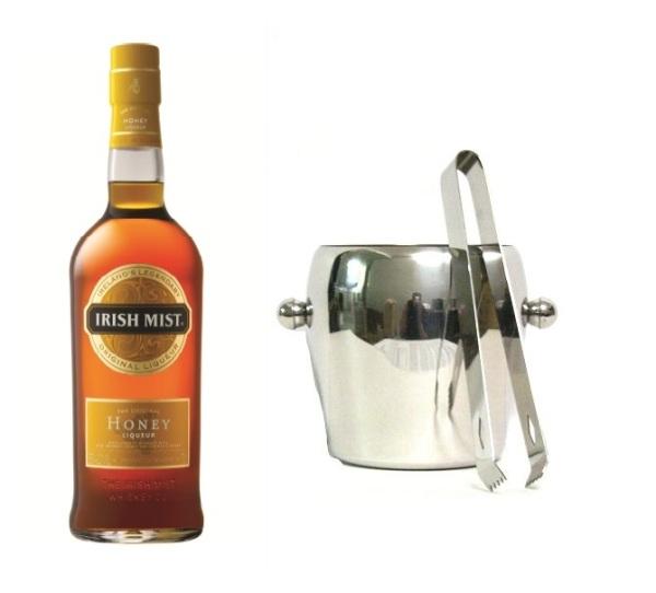 Whisky Likör+ Eiskübel 1l und Eiszange der Marke Irish Mist 35% 0,7l Flasche