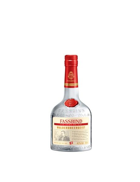 Walderdbeergeist der Marke Fassbind 41% 0,5l Flasche