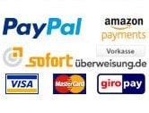 Zahlunsgmethoden: Paypal, Sofortueberweisung, Mastercard, Visacard
